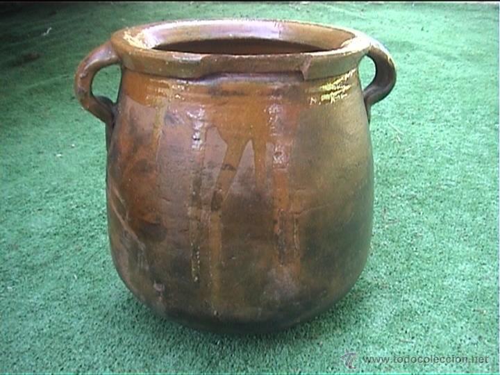 Antigüedades: OLLA DE BARRO PUCHERO DE FUEGO CERAMICA POPULAR 23CM - Foto 2 - 50427222