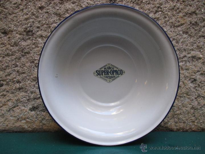PALANGANA ESMALTADA 26CM -SIN USO AÑOS 30 -MARCA PIROSMAL MARIPOSA BARCELONA + INFO (Antigüedades - Porcelanas y Cerámicas - Otras)