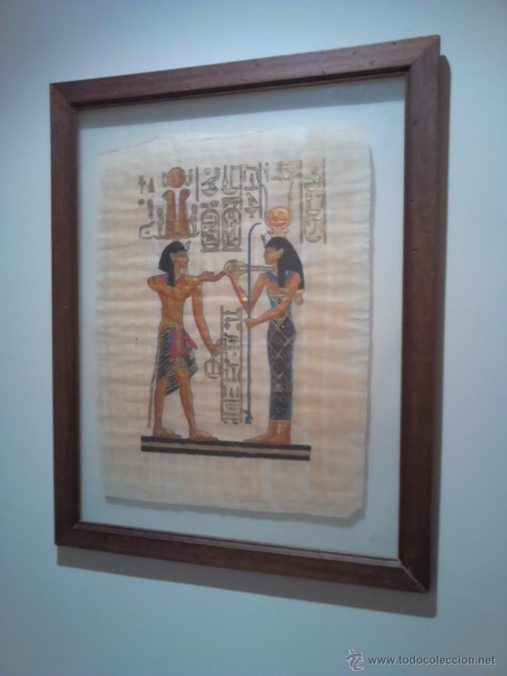cuadro papiro egipcio marco de madera con doble - Comprar en ...