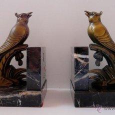 Antigüedades: APOYA LIBROS ART NOUVEAU - PARIS , FRANCIA - METAL Y MARMOL. Lote 50457505