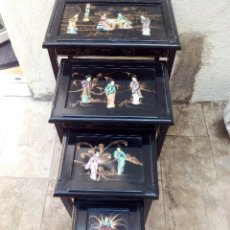 Antigüedades: JUEGO DE CUATRO MESAS NIDO CHINAS EN LACADO EN NEGRO CON INCRUSTACIONES.. Lote 50471214