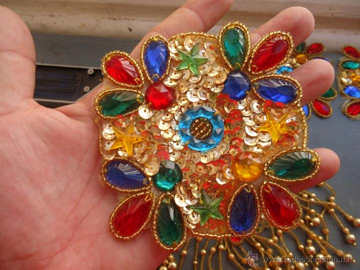 Antigüedades: gran lote espectaculares antiguas aplicaciones apliques para tajes fiesta fantasia bordados .... - Foto 8 - 50477121