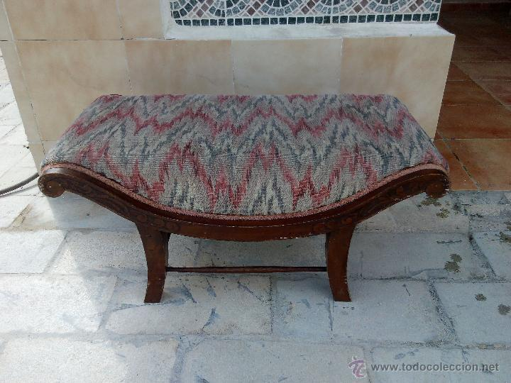 Antigua silla taburete para pies de cama o desc comprar - Tapizado de sillas antiguas ...