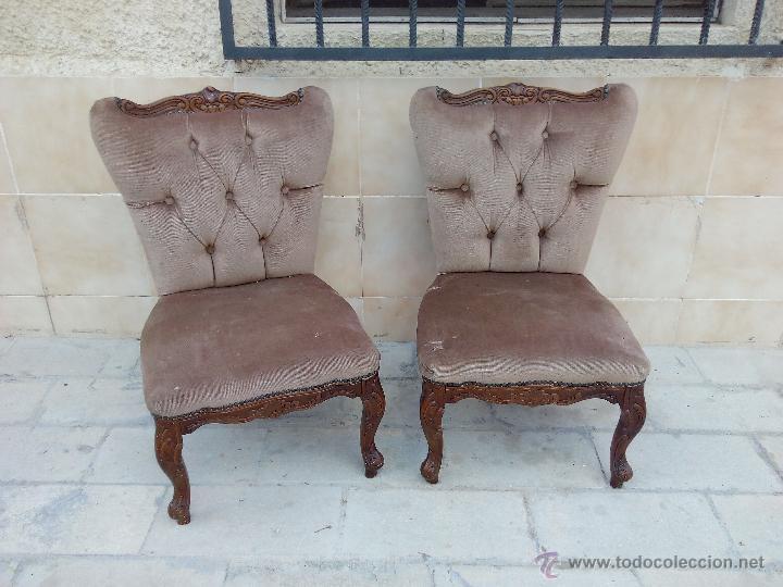 Antigüedades: Preciosas sillas isabelinas de madera maciza tallada y tapizado aterciopelado. finales del siglo XIX - Foto 2 - 50480724