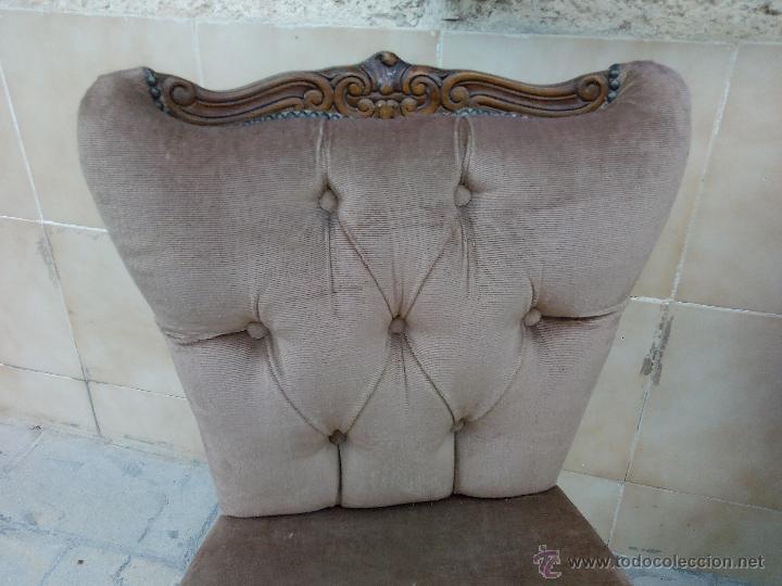 Antigüedades: Preciosas sillas isabelinas de madera maciza tallada y tapizado aterciopelado. finales del siglo XIX - Foto 3 - 50480724