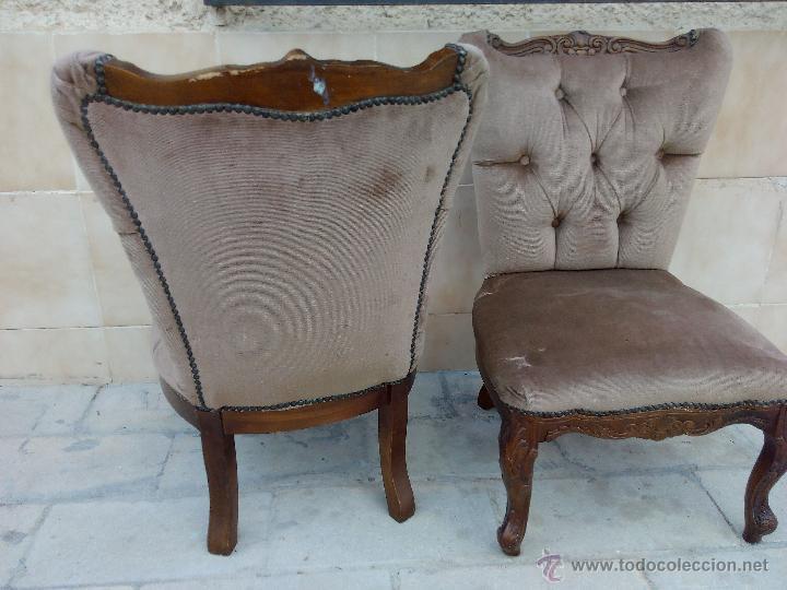 Antigüedades: Preciosas sillas isabelinas de madera maciza tallada y tapizado aterciopelado. finales del siglo XIX - Foto 6 - 50480724