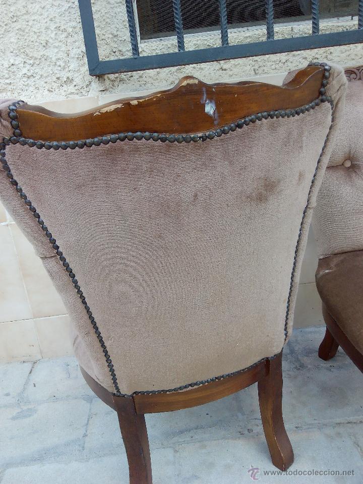 Antigüedades: Preciosas sillas isabelinas de madera maciza tallada y tapizado aterciopelado. finales del siglo XIX - Foto 7 - 50480724