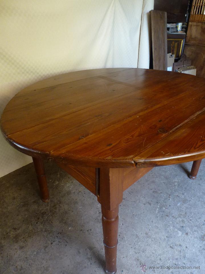 Antigüedades: Antigua y grande mesa plegable ovalada, madera pino melis. - Foto 17 - 50481914