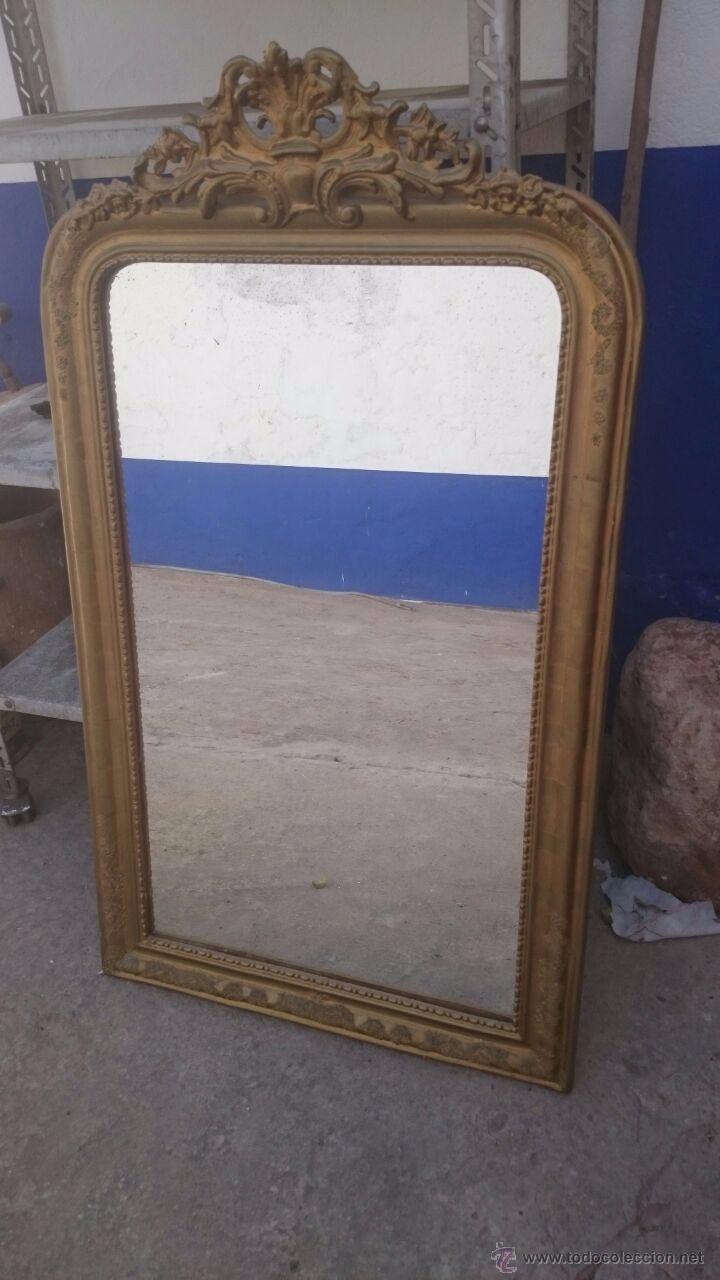 antiguo espejo de alcoba alargado con pan de or - Comprar Espejos ...