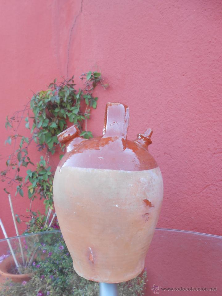 Antigüedades: ANTIGUO BOTIJO DE BARRO ESMALTADO - Foto 2 - 50509991