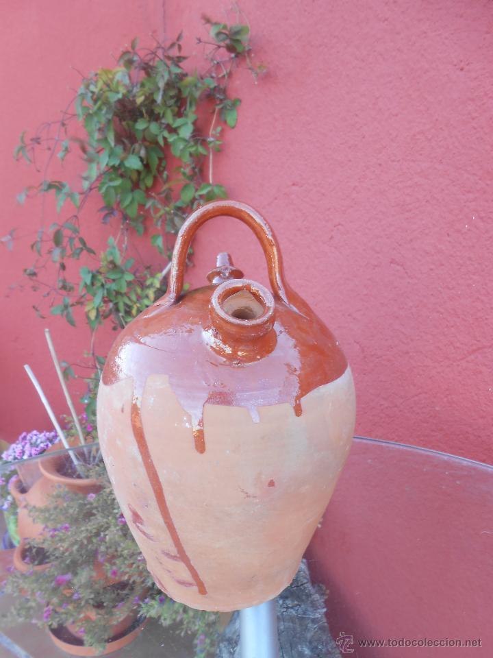 Antigüedades: ANTIGUO BOTIJO DE BARRO ESMALTADO - Foto 3 - 50509991