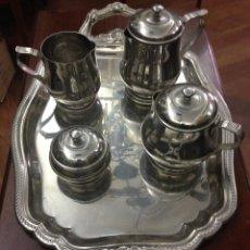 Antigüedades: JUEGO DE CAFE DE METAL . Lote 50518152