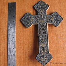 Antigüedades: ANTIGUO CRUCIFIJO CRUZ BRONCE ORTODOXA CON BENDITERA. Lote 50522575