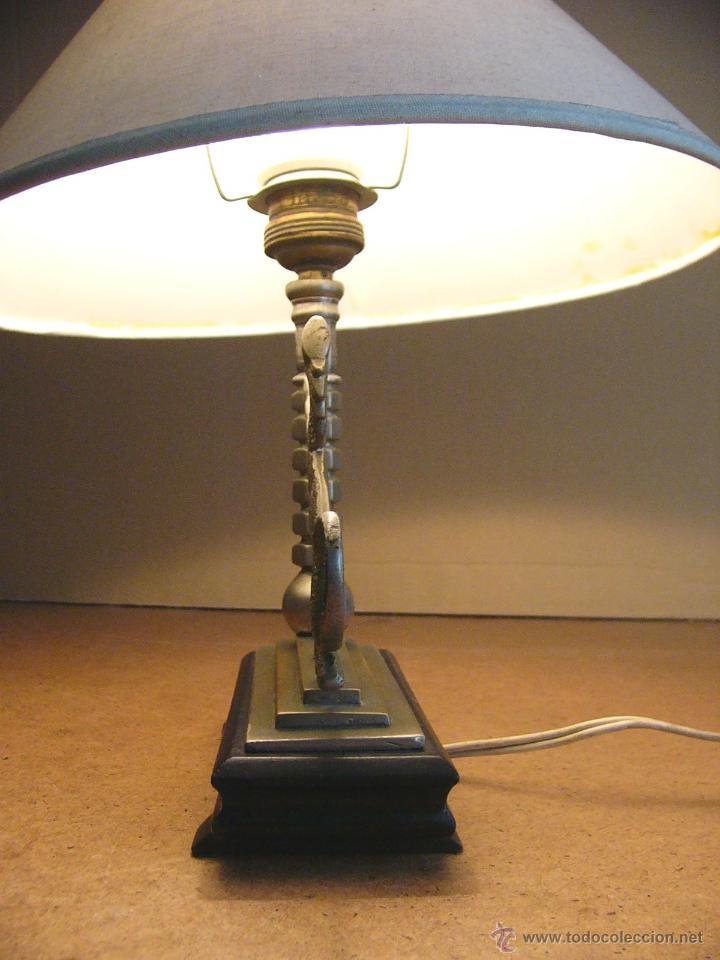 Antigüedades: Lampara Art Deco de sobremesa mesita de noche o escritorio con figura de dragon - Foto 10 - 50546187