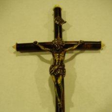 Antigüedades: CRISTO DE BRONCE CRUZ DE MADERA EBONIZADA.. Lote 50549087