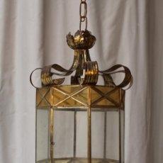 Antigüedades: LAMPARA DE TECHO CON CRISTALES Y LATON. Lote 50552333