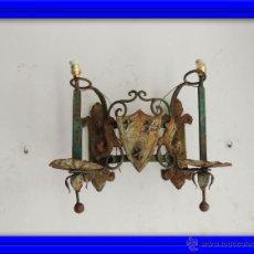 Antigüedades: APLIQUE APLIQUES DE PARED DE HIERRO CON DOS LUCES. Lote 50558071