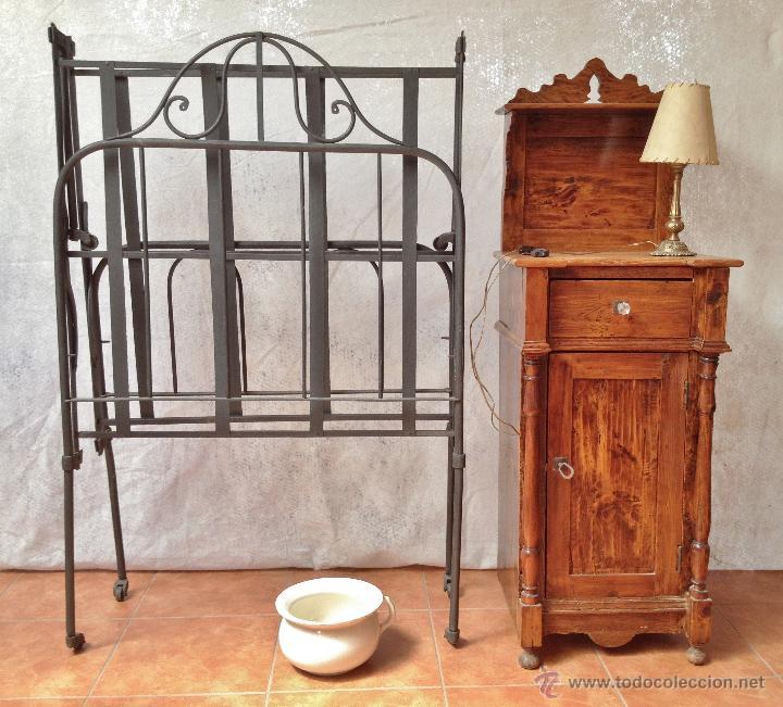 Antigua cama hierro mesita noche lampara y o comprar - Camas antiguas de hierro ...