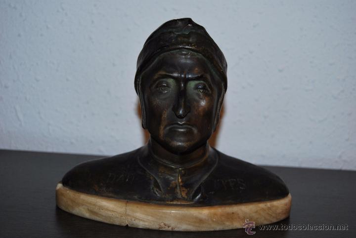 BUSTO MODERNISTA DE CERÁMICA - PEANA DE MARMOL - CABEZA - DANTE - ESTEVA BARCELONA - MODERNISMO (Antigüedades - Hogar y Decoración - Figuras Antiguas)
