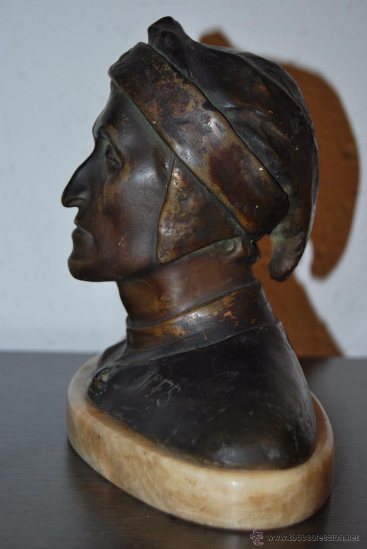 Antigüedades: BUSTO MODERNISTA DE CERÁMICA - PEANA DE MARMOL - CABEZA - DANTE - ESTEVA BARCELONA - MODERNISMO - Foto 6 - 52129416