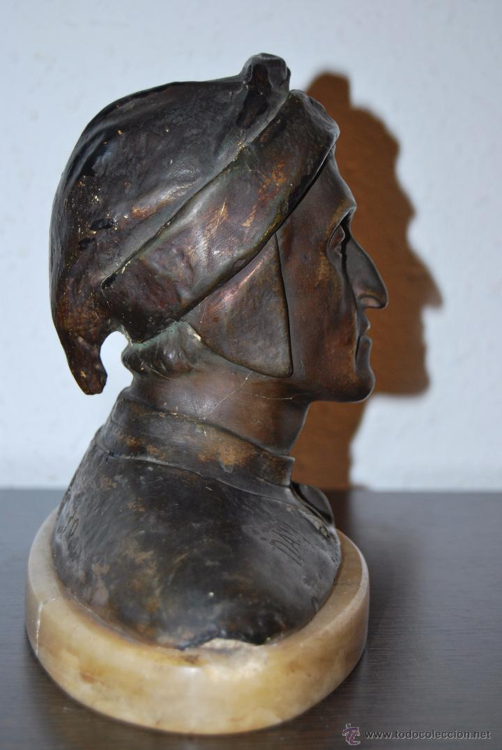 Antigüedades: BUSTO MODERNISTA DE CERÁMICA - PEANA DE MARMOL - CABEZA - DANTE - ESTEVA BARCELONA - MODERNISMO - Foto 7 - 52129416