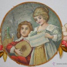 Antigüedades: TAPETE PINTADO A MANO CON BORDADOS EN LATERALES. ESCENA MUSICAL. CIRCA 1900. Lote 50594176