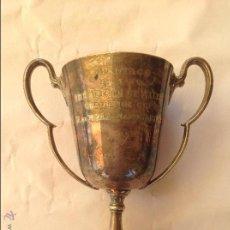 Antigüedades: PEQUEÑO TROFEO DE METAL PLATEADO INGLES. 1932. Lote 50604884