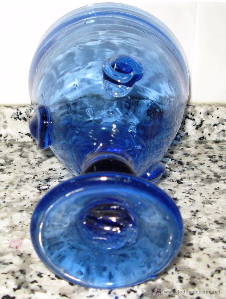 Antigüedades: Copa Grial en Pasta de Vidrio Azul Añil Fabricación Artesanal - Foto 5 - 50623782