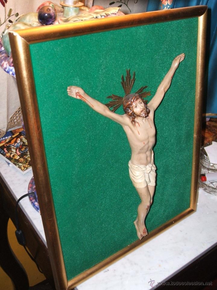 JESÚS, SANTO CRISTO ENMARCADO. (Antigüedades - Religiosas - Crucifijos Antiguos)