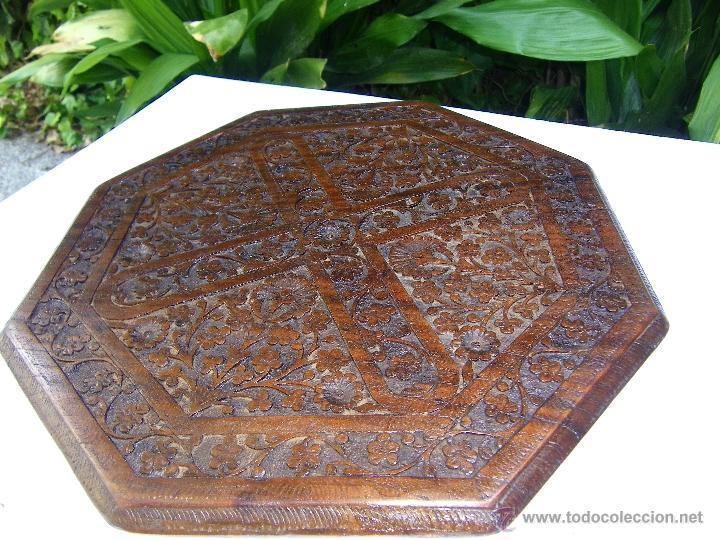 TABLERO MESA OCTOGONAL LABRADO (Antigüedades - Muebles Antiguos - Mesas Antiguas)