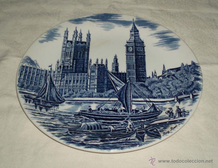PLATO PORCELANA INGLESA RECUERDO DE LONDRES BIN BENG (Antigüedades - Hogar y Decoración - Platos Antiguos)