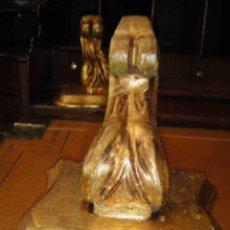 Antigüedades: PEANA DE MADERA DORADA AL ORO FINO. SIGLO XIX. Lote 50673600