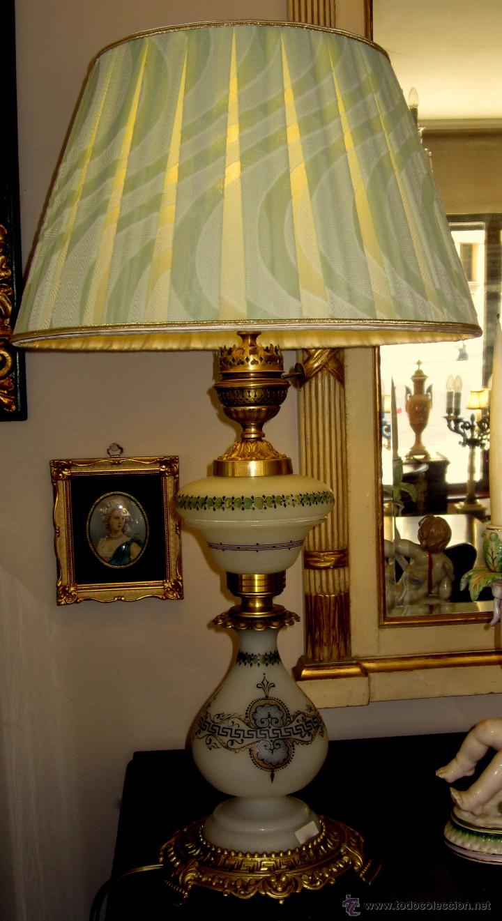 EXTRAORDINARIA LAMPARA DE OPALINA PINTADA A MANO (Antigüedades - Iluminación - Lámparas Antiguas)