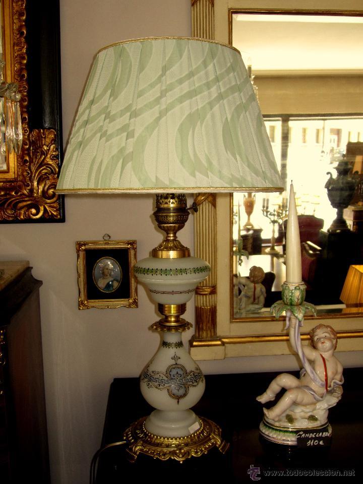 Antigüedades: EXTRAORDINARIA LAMPARA DE OPALINA PINTADA A MANO - Foto 2 - 50682447