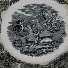 Antigüedades: (M) PLATA DE FABRICA DE CARTAGENA , ESCENA DE CAZADORES , 23 CM, SEÑALES DE USO. Lote 50685683