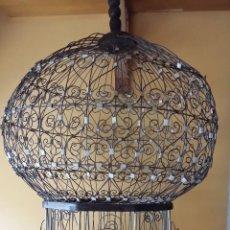 Antigüedades: JAULA DE ALAMBRE Y MADERA, 65 CM. SOLO MADRID. Lote 61549286