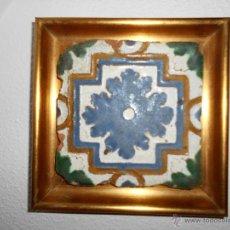 Antigüedades: AZULEJO CERAMICA TOLEDANA DE ARISTA. SIGLO XVI TOLEDO. CATALOGADO.ENMARCADO. Lote 50690474