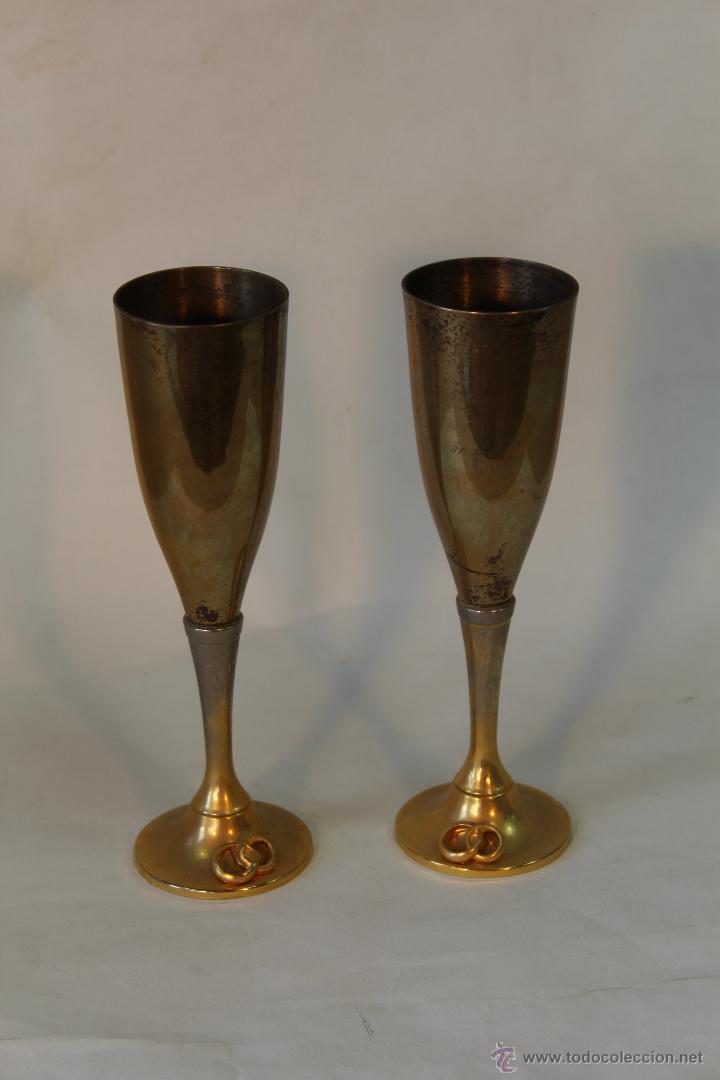 Antigüedades: 2 copas en metal plateado grabadas - Foto 2 - 50717011