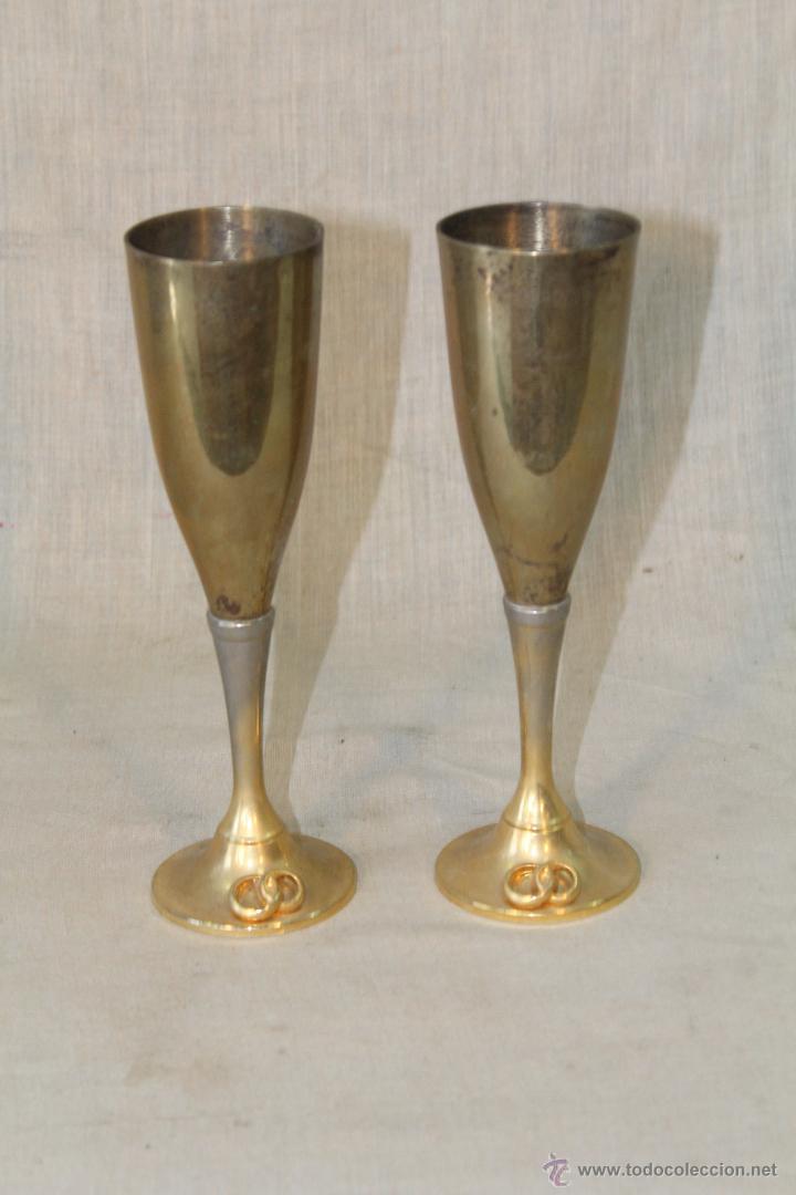 Antigüedades: 2 copas en metal plateado grabadas - Foto 5 - 50717011