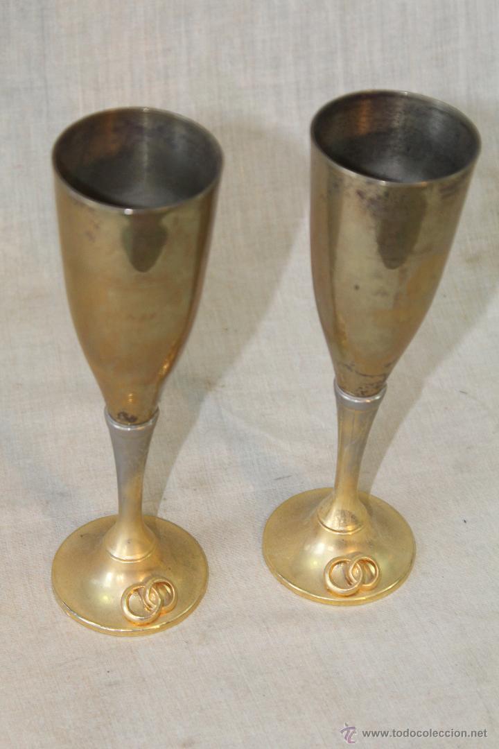 Antigüedades: 2 copas en metal plateado grabadas - Foto 6 - 50717011