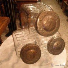 Antigüedades: LOTE DE 3 ANTIGUOS BOTES - TARROS CARAMELOS TARDÀ ( BARCELONA ). Lote 50718807