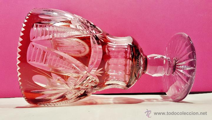 Antigüedades: Gran copa de cristal tallado color ámbar y transparente. - Foto 2 - 50767575