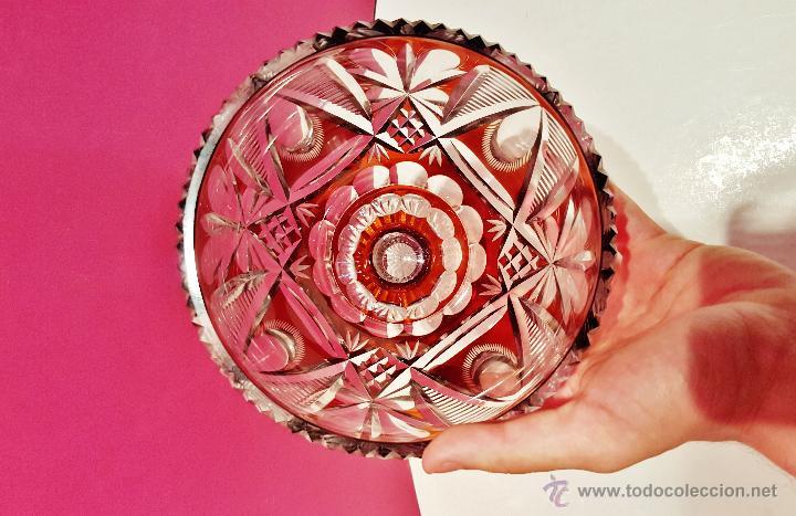 Antigüedades: Gran copa de cristal tallado color ámbar y transparente. - Foto 4 - 50767575
