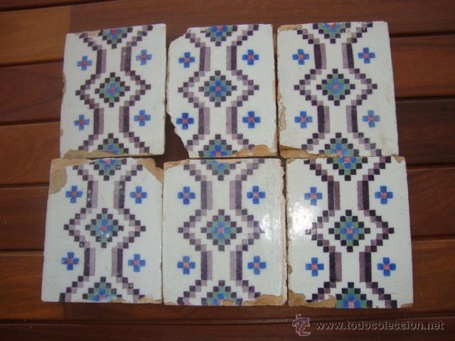 LOTE AZULEJOS ANTIGUOS (SIGLO XVIII) (Antigüedades - Porcelanas y Cerámicas - Azulejos)