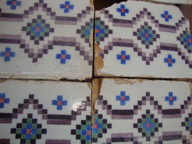 Antigüedades: Lote azulejos antiguos (siglo XVIII) - Foto 2 - 50771082