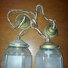 Antigüedades: PAREJA DE ANTIGUAS LAMPARAS FAROLES O FOCOS CRISTAL DE COLGAR . Lote 54108834