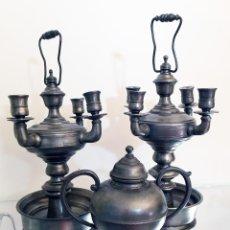 Antigüedades: CONJUNTO CANDELABROS Y VASIJA ESTAÑO. Lote 50776580