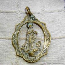 Antigüedades: ANTIGUO MEDALLON DE LA VIRGEN, DE METAL, CON COLGADOR 6 CTMS. Lote 50779717