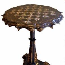 Antigüedades: MESA DE AJEDREZ DE PAPIER MACHE Y NACA, EPOCA 1860. Lote 50785473