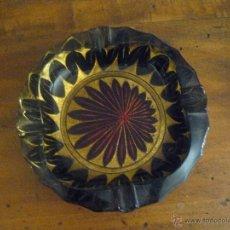 Antigüedades: CENICERO DE CRISTAL TALLADO - PINTADO. Lote 50816640